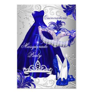 青及び銀の服の仮面舞踏会のキンセアニェラの招待 8.9 X 12.7 インビテーションカード