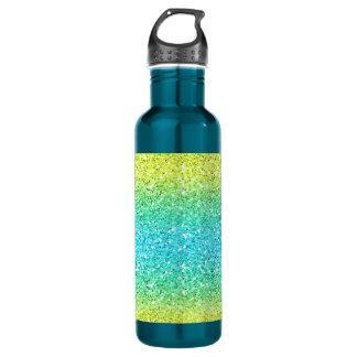 青及び黄色のきらめくビット ウォーターボトル