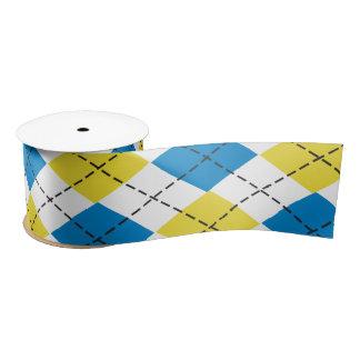 青及び黄色のアーガイル柄のなリボン サテンリボン