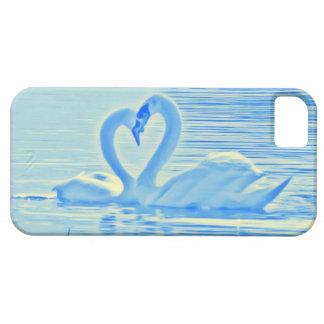 青及び黄色のオーラのロマンチックなハートキスの白鳥 iPhone SE/5/5s ケース
