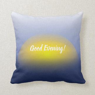 青及び黄色の水プリントの日没 クッション