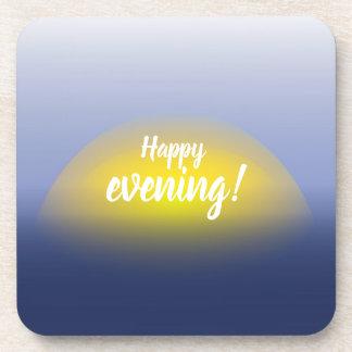 青及び黄色の水プリントの日没 コースター
