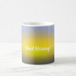 青及び黄色の水プリントの日没 コーヒーマグカップ