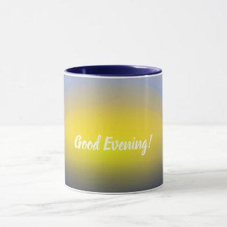 青及び黄色の水プリントの日没 マグカップ