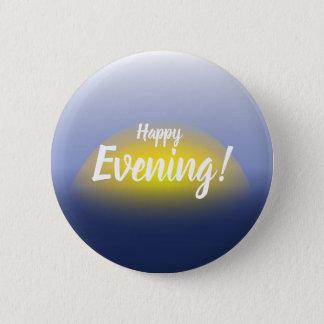 青及び黄色の水プリントの日没 缶バッジ