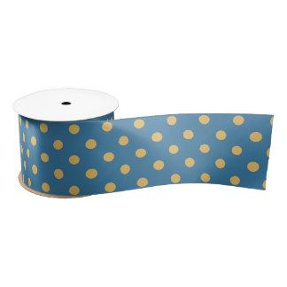 青及び黄色の水玉模様 サテンリボン