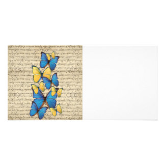 青及び黄色のbutterrflies カード
