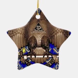 青及び黄色スコットランドの儀式の正方形及びコンパス セラミックオーナメント