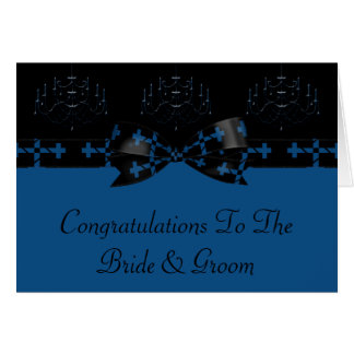 青及び黒いゴシック様式シャンデリア及び十字の結婚式 カード