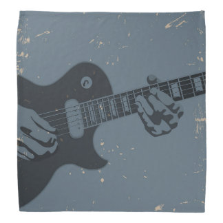 青及び黒く素朴なギター奏者 バンダナ