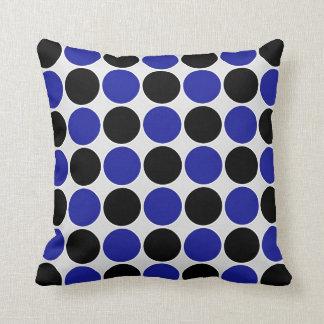 青及び黒のレトロの水玉模様 クッション