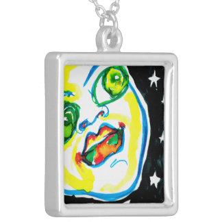 青年および楽天主義の水彩画の色彩の鮮やかなペンダント シルバープレートネックレス