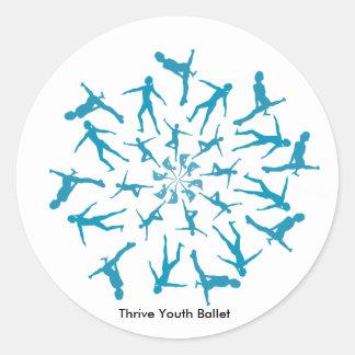 青年バレエのステッカーのダンサーの曼荼羅は繁栄します ラウンドシール