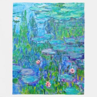 青海原ユリの池のMonetの新しいファインアート フリースブランケット