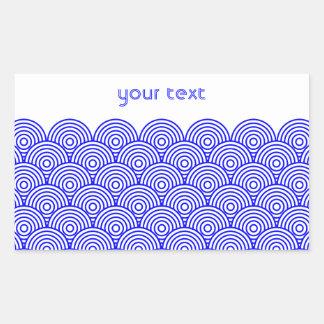 青海波風(青色) 長方形シール