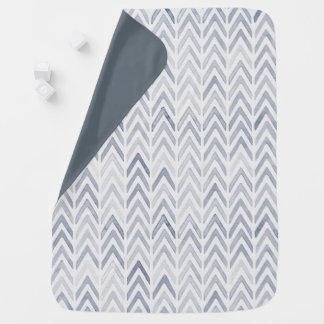 青灰色の色相の甘い水彩画のシェブロン毛布 ベビー ブランケット