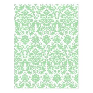 青磁および白くエレガントなダマスク織パターン ポストカード