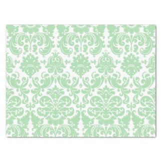 青磁および白くエレガントなダマスク織パターン 薄葉紙