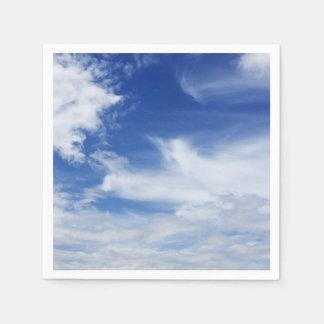 青空および雲の背景の雲のテンプレート スタンダードカクテルナプキン