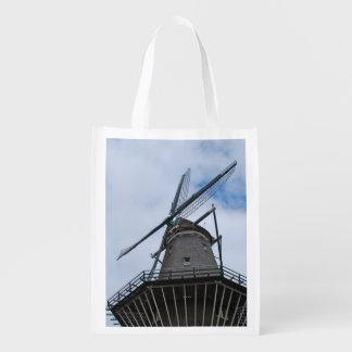 青空が付いているアムステルダムの風車 エコバッグ