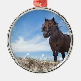 青空が付いている砂の黒い子馬 メタルオーナメント