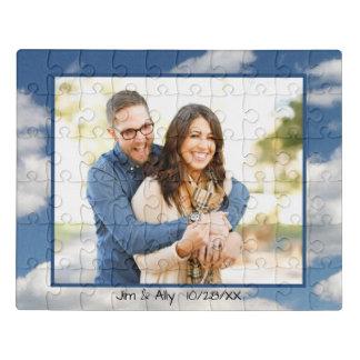 青空のあなたの写真のための白い雲フレーム ジグソーパズル