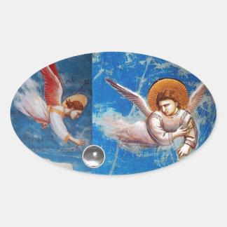青空の休日のパーティの飛んでいるなクリスマスの天使 楕円形シール
