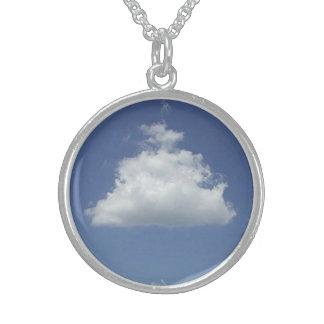 青空の白い雲のネックレス スターリングシルバーネックレス