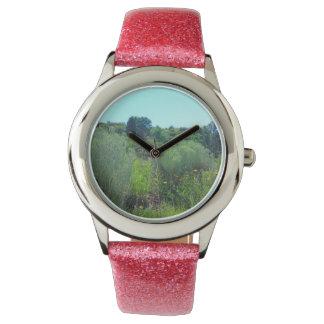 青空の腕時計が付いている緑の丘陵 腕時計