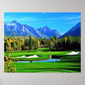 青空の芝生山のイメージのゴルフポスター ポスター
