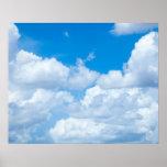 青空の雲の背景の空の天国のデザイン ポスター