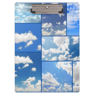 青空及び白の雲のコラージュ クリップボード