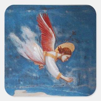 青空、クリスマスの休日のパーティの飛んでいるな天使 スクエアシール