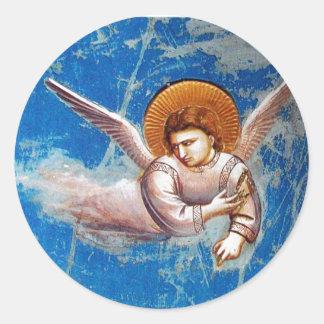 青空、休日のパーティの飛んでいるなクリスマスの天使 ラウンドシール