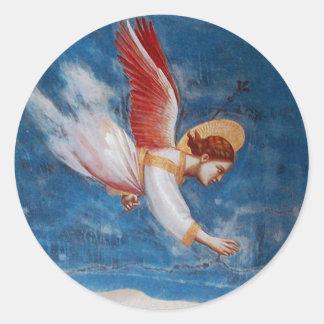 青空、休日のパーティの飛行CHRISMASの天使 ラウンドシール