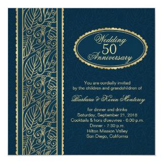 青第50の結婚記念日の金葉 13.3 スクエアインビテーションカード