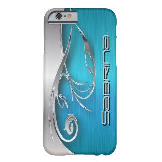 青緑およびエレガントな銀製の金属のプリント BARELY THERE iPhone 6 ケース