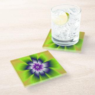 青緑およびバイオレットのデイジーの花 ガラスコースター
