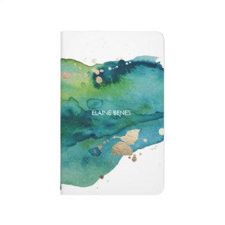 青緑および金ゴールドの水彩画ジャーナル ジャーナル
