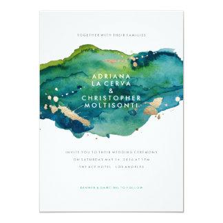 青緑および金ゴールドの(ばちゃばちゃ)跳ねるの結婚式招待状 カード