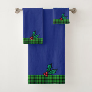 青緑のクリスマスの格子縞およびヒイラギタオルセット バスタオルセット