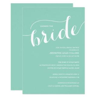 青緑のシャワー花嫁の招待状 カード