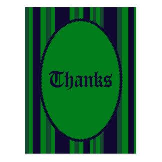 青緑のストライプのありがとう ポストカード