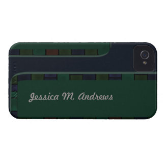青緑のタイルのボーダー Case-Mate iPhone 4 ケース