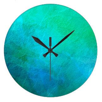 青緑のターコイズの抽象芸術の背景の芸術 ラージ壁時計