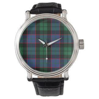 青緑のタータンチェックの腕時計 腕時計