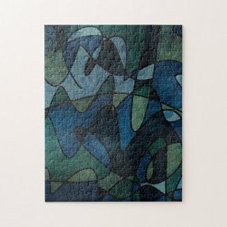 青緑のティール(緑がかった色)のデジタルステンドグラスの抽象芸術 ジグソーパズル