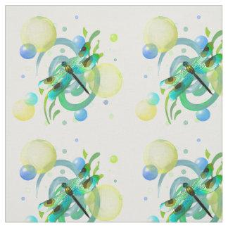 青緑のトンボの生地 ファブリック