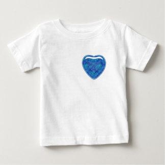 青緑のヒスイのハートの乳児のTシャツ ベビーTシャツ
