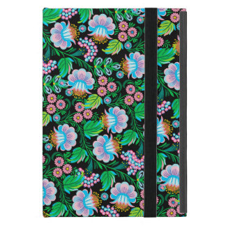 青緑のピンクのかわいらしい民芸花パターン iPad MINI ケース